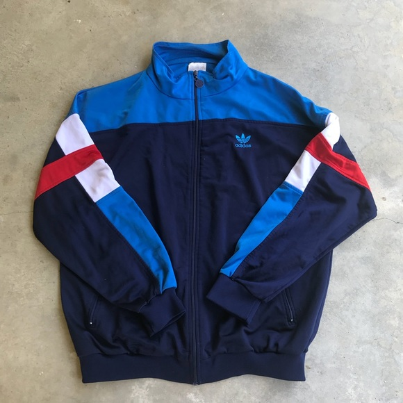 ADIDAS MENS SKY Blue And Navy Blue Track Suit Size L